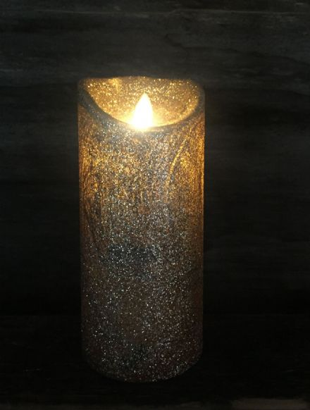 Gold Glitter Flickering Flame LED Candle 15cm